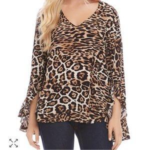 Karen Kane cheetah blouse 2x